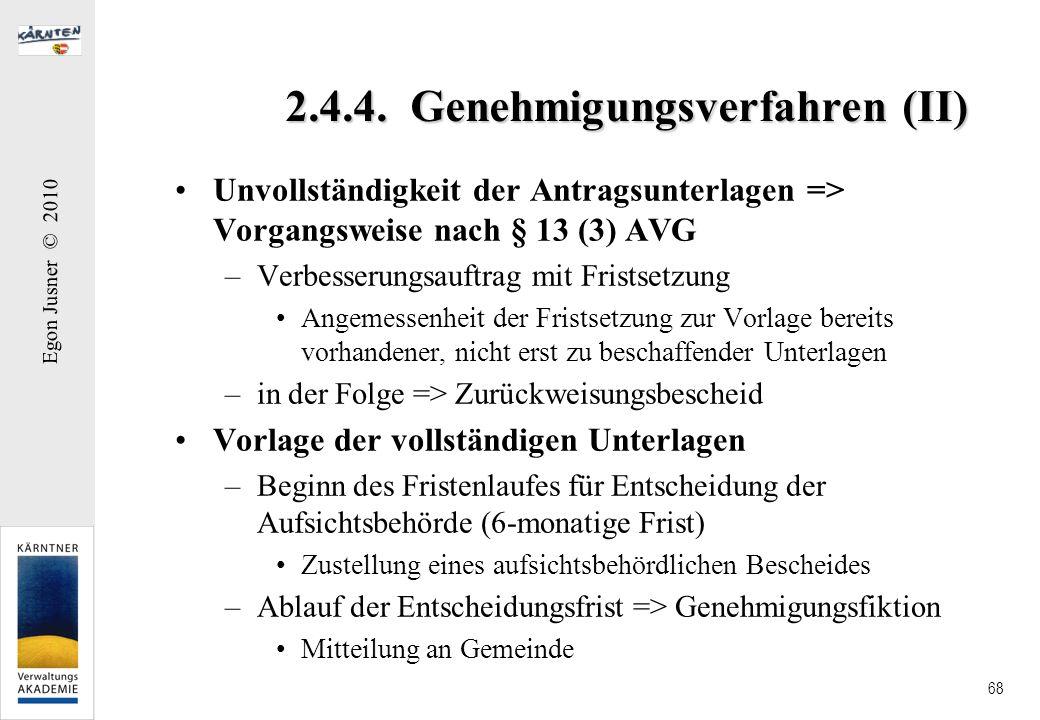 2.4.4. Genehmigungsverfahren (II)