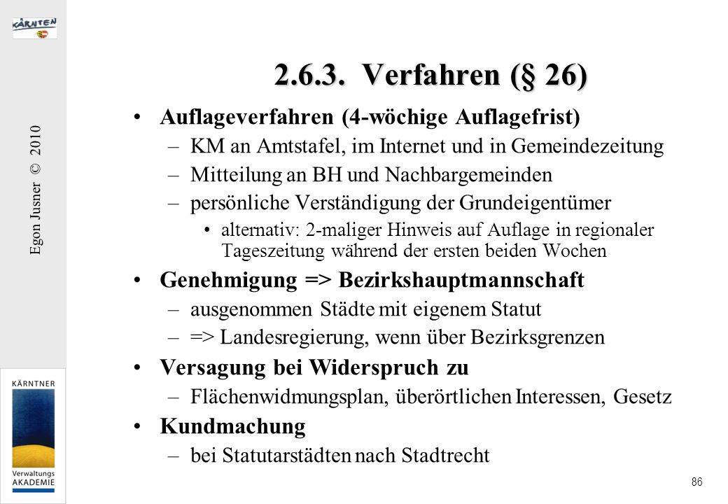 2.6.3. Verfahren (§ 26) Auflageverfahren (4-wöchige Auflagefrist)