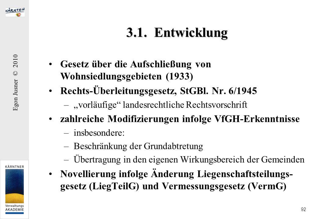 3.1. Entwicklung Gesetz über die Aufschließung von Wohnsiedlungsgebieten (1933) Rechts-Überleitungsgesetz, StGBl. Nr. 6/1945.