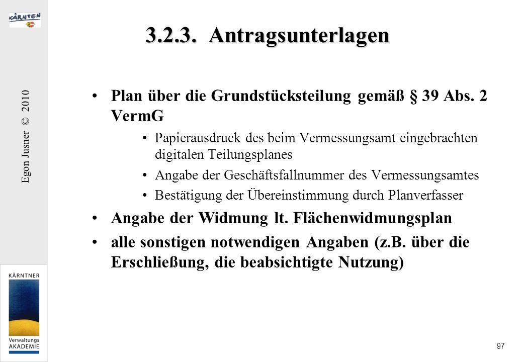 3.2.3. Antragsunterlagen Plan über die Grundstücksteilung gemäß § 39 Abs. 2 VermG.