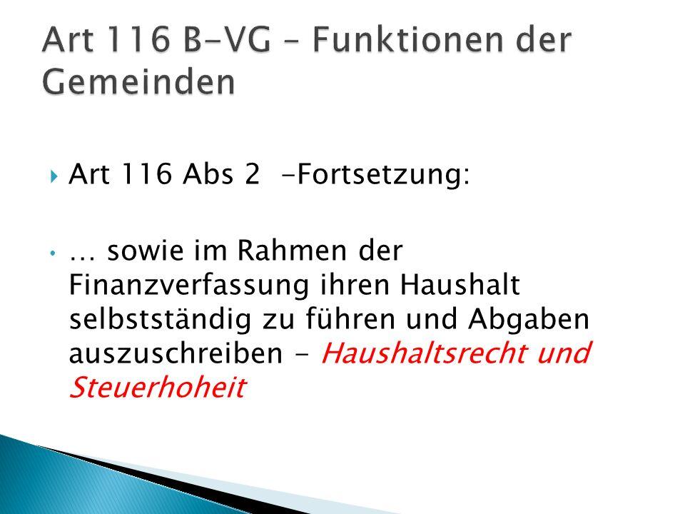 Art 116 B-VG – Funktionen der Gemeinden