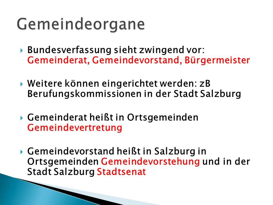 Bundesverfassung sieht zwingend vor: Gemeinderat, Gemeindevorstand, Bürgermeister
