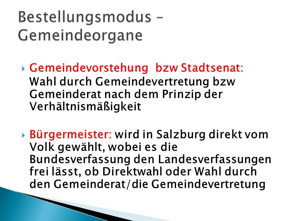 Gemeindevorstehung bzw Stadtsenat: