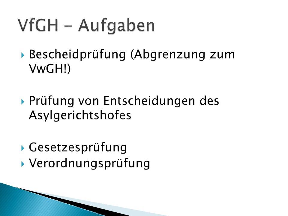 VfGH - Aufgaben Bescheidprüfung (Abgrenzung zum VwGH!)