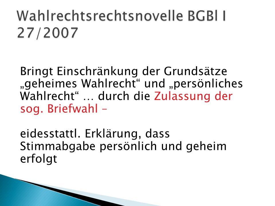 Wahlrechtsrechtsnovelle BGBl I 27/2007