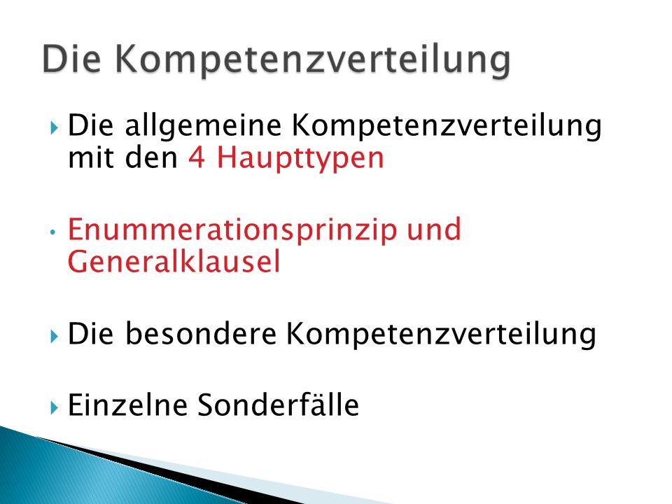 Die allgemeine Kompetenzverteilung mit den 4 Haupttypen