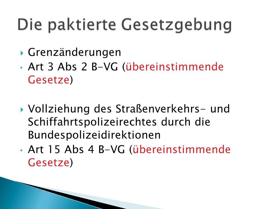 Grenzänderungen Art 3 Abs 2 B-VG (übereinstimmende Gesetze)