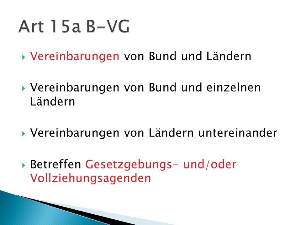 Art 15a B-VG Vereinbarungen von Bund und Ländern