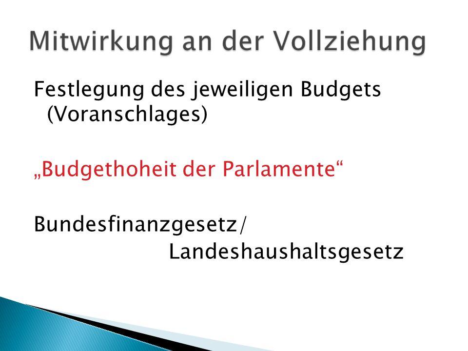 """Festlegung des jeweiligen Budgets (Voranschlages) """"Budgethoheit der Parlamente Bundesfinanzgesetz/ Landeshaushaltsgesetz"""