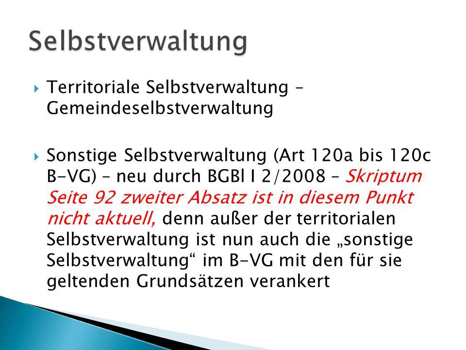 Selbstverwaltung Territoriale Selbstverwaltung – Gemeindeselbstverwaltung.