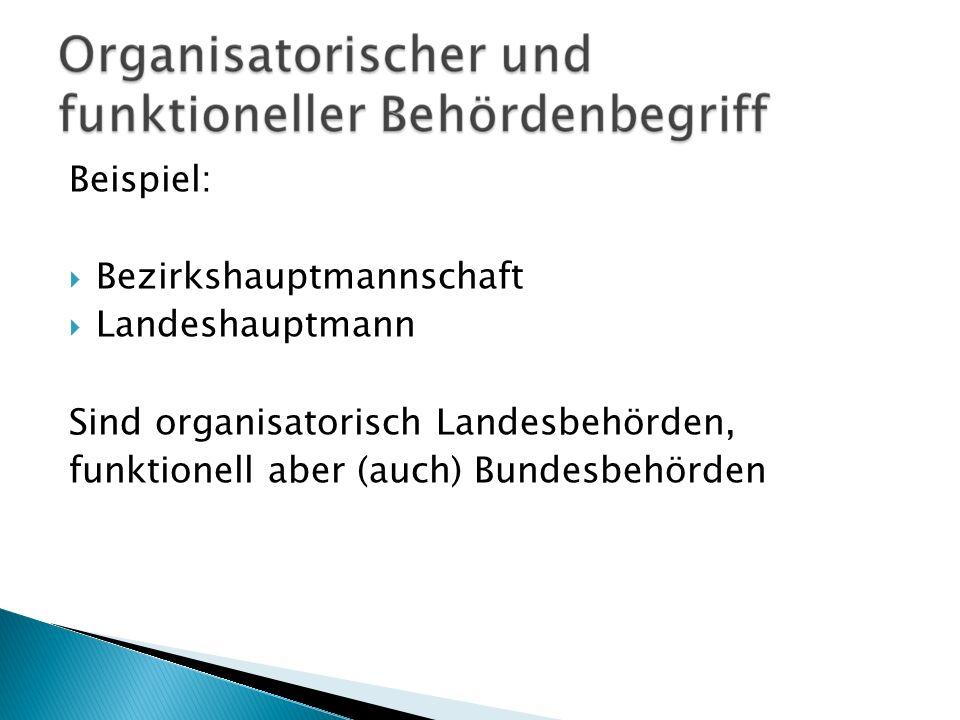 Beispiel: Bezirkshauptmannschaft. Landeshauptmann.