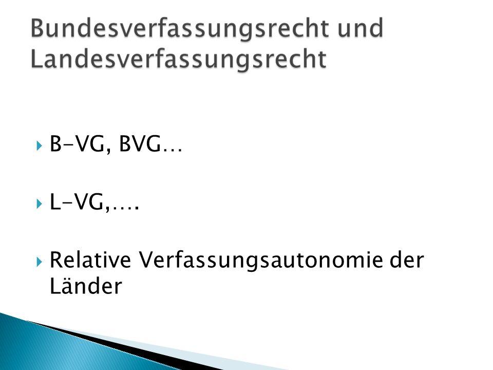 B-VG, BVG… L-VG,…. Relative Verfassungsautonomie der Länder