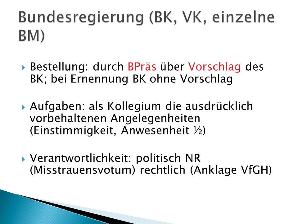 Bestellung: durch BPräs über Vorschlag des BK; bei Ernennung BK ohne Vorschlag