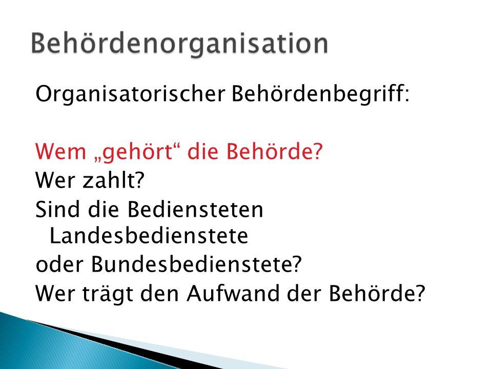 """Organisatorischer Behördenbegriff: Wem """"gehört die Behörde. Wer zahlt"""