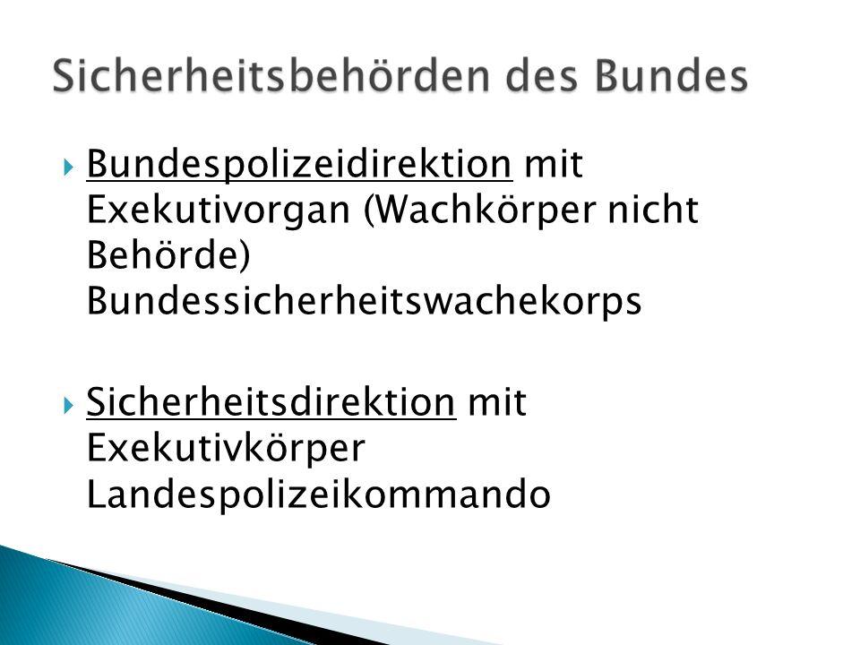 Bundespolizeidirektion mit Exekutivorgan (Wachkörper nicht Behörde) Bundessicherheitswachekorps