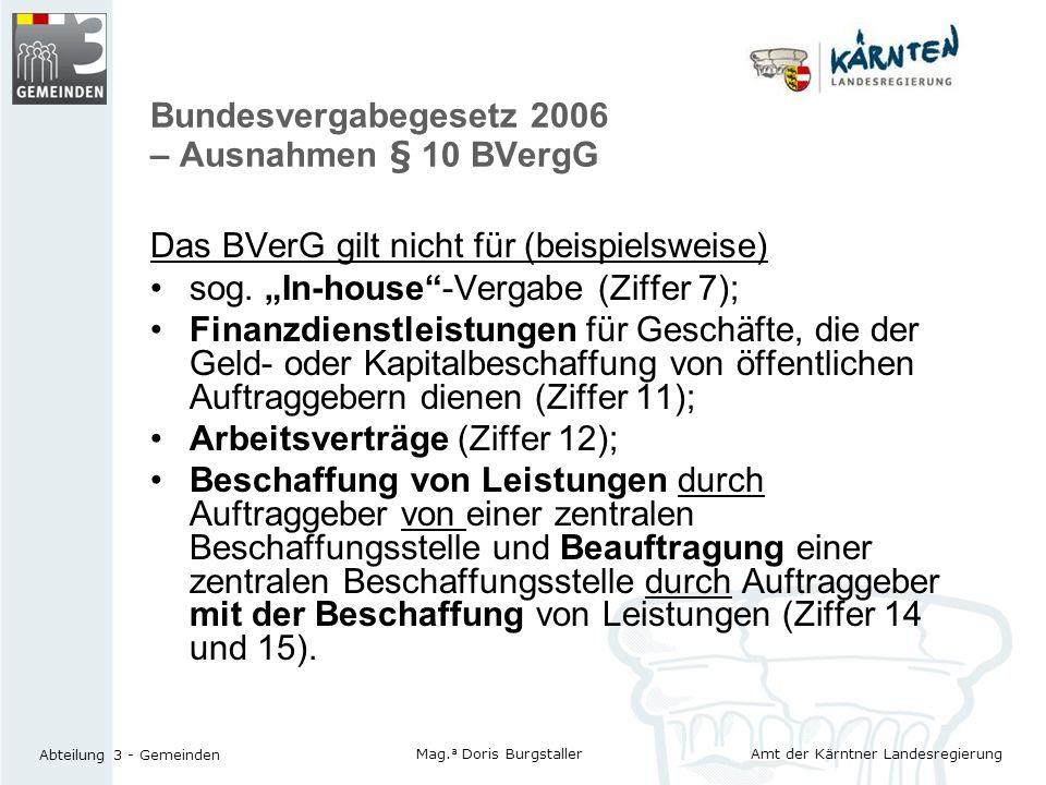 Bundesvergabegesetz 2006 – Ausnahmen § 10 BVergG