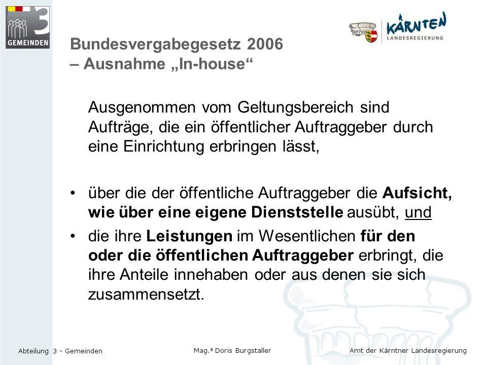"Bundesvergabegesetz 2006 – Ausnahme ""In-house"