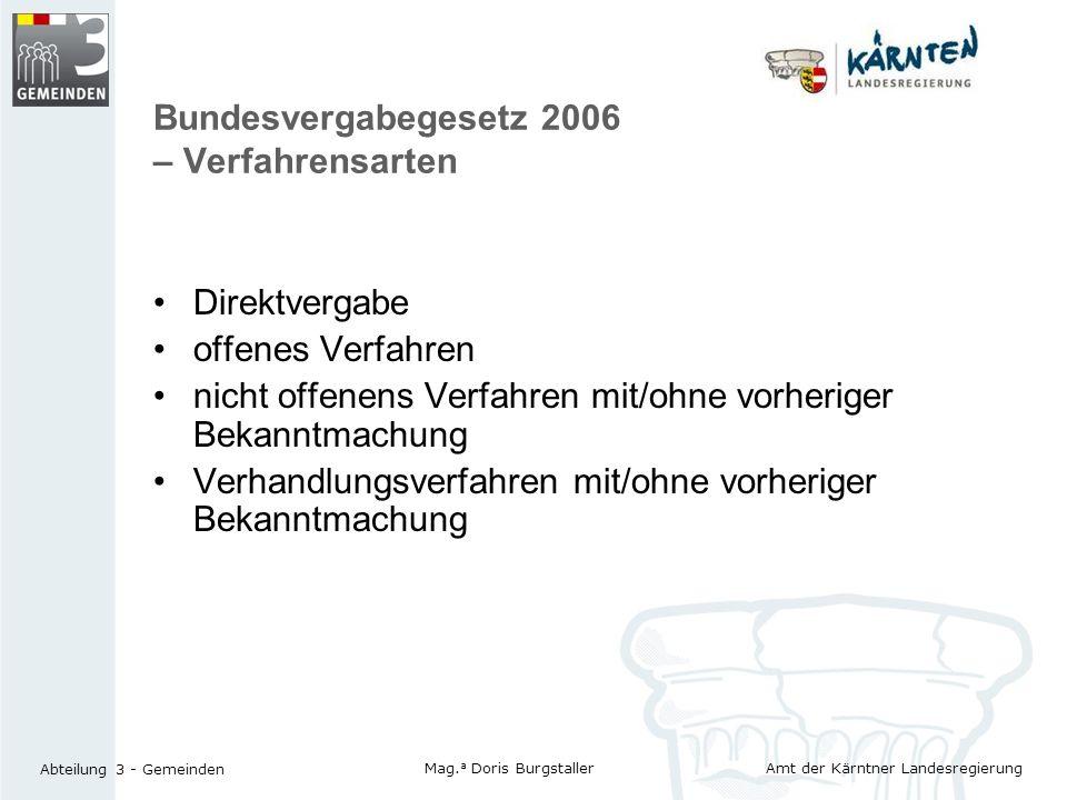 Bundesvergabegesetz 2006 – Verfahrensarten