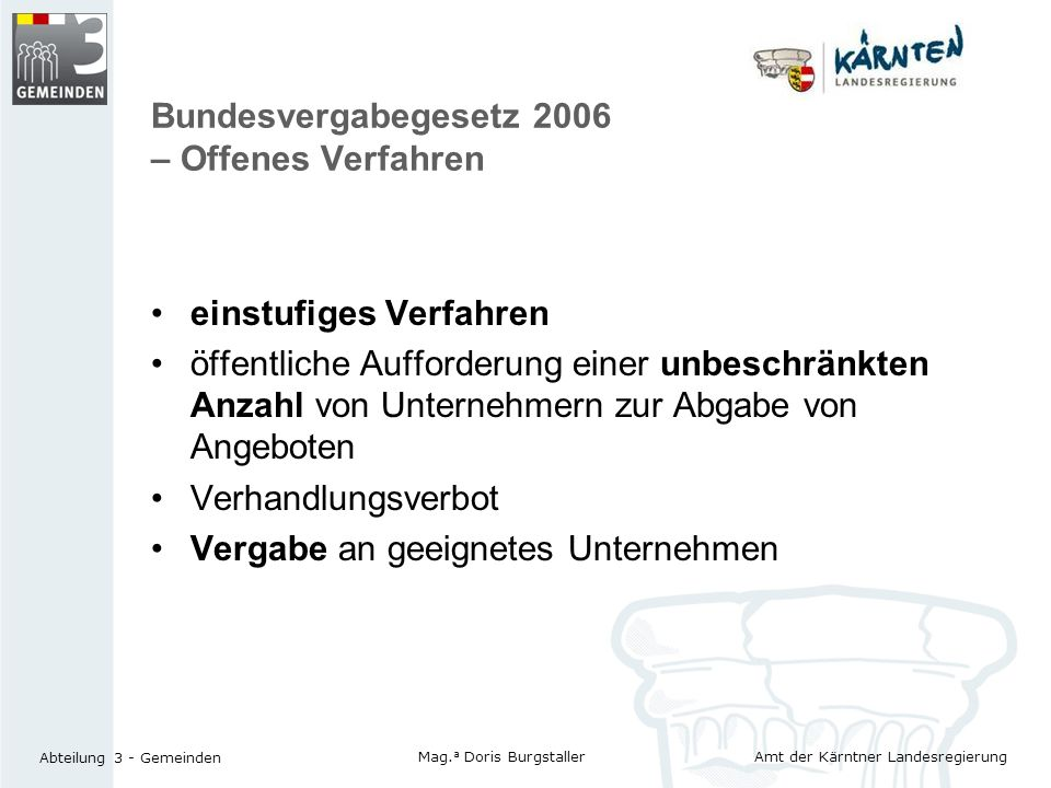 Bundesvergabegesetz 2006 – Offenes Verfahren