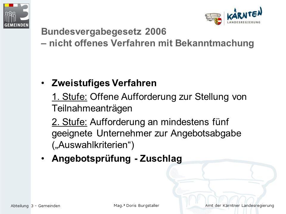 Bundesvergabegesetz 2006 – nicht offenes Verfahren mit Bekanntmachung