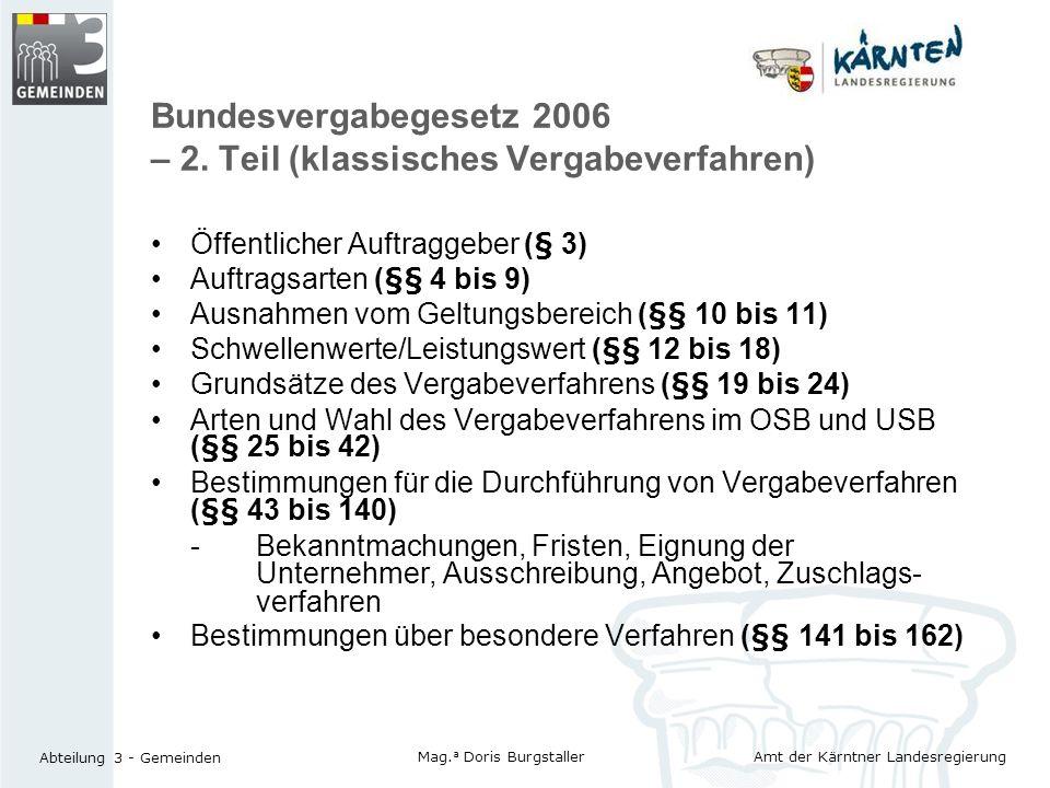 Bundesvergabegesetz 2006 – 2. Teil (klassisches Vergabeverfahren)