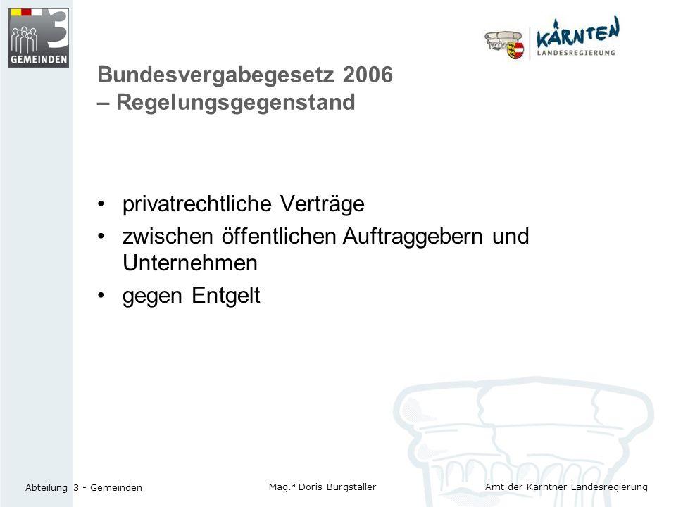 Bundesvergabegesetz 2006 – Regelungsgegenstand
