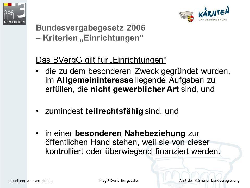 """Bundesvergabegesetz 2006 – Kriterien """"Einrichtungen"""