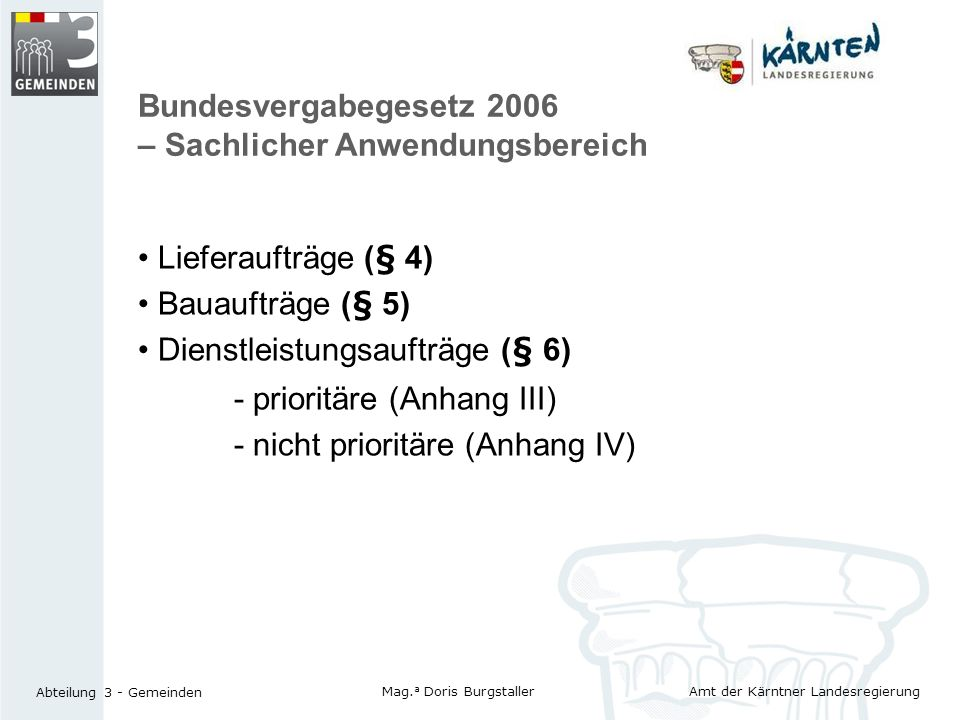 Bundesvergabegesetz 2006 – Sachlicher Anwendungsbereich