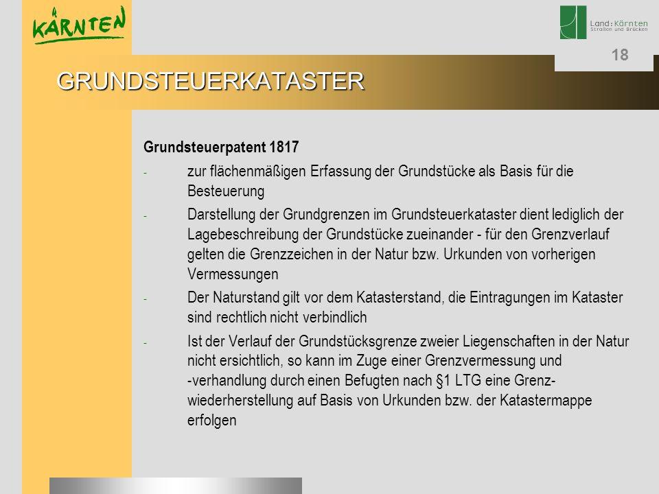 GRUNDSTEUERKATASTER Grundsteuerpatent 1817