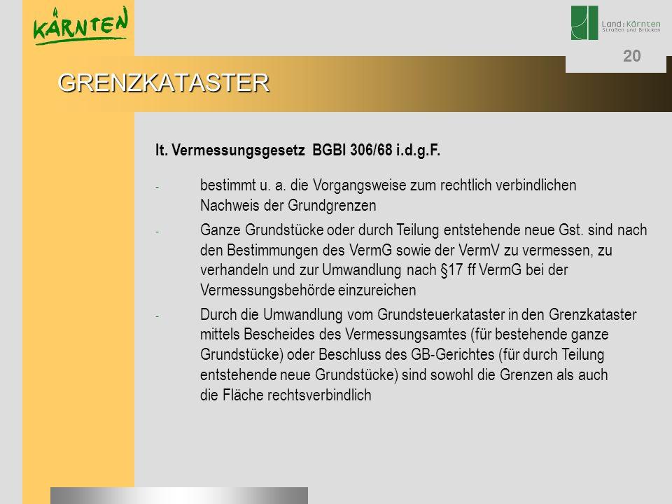 GRENZKATASTER lt. Vermessungsgesetz BGBl 306/68 i.d.g.F.