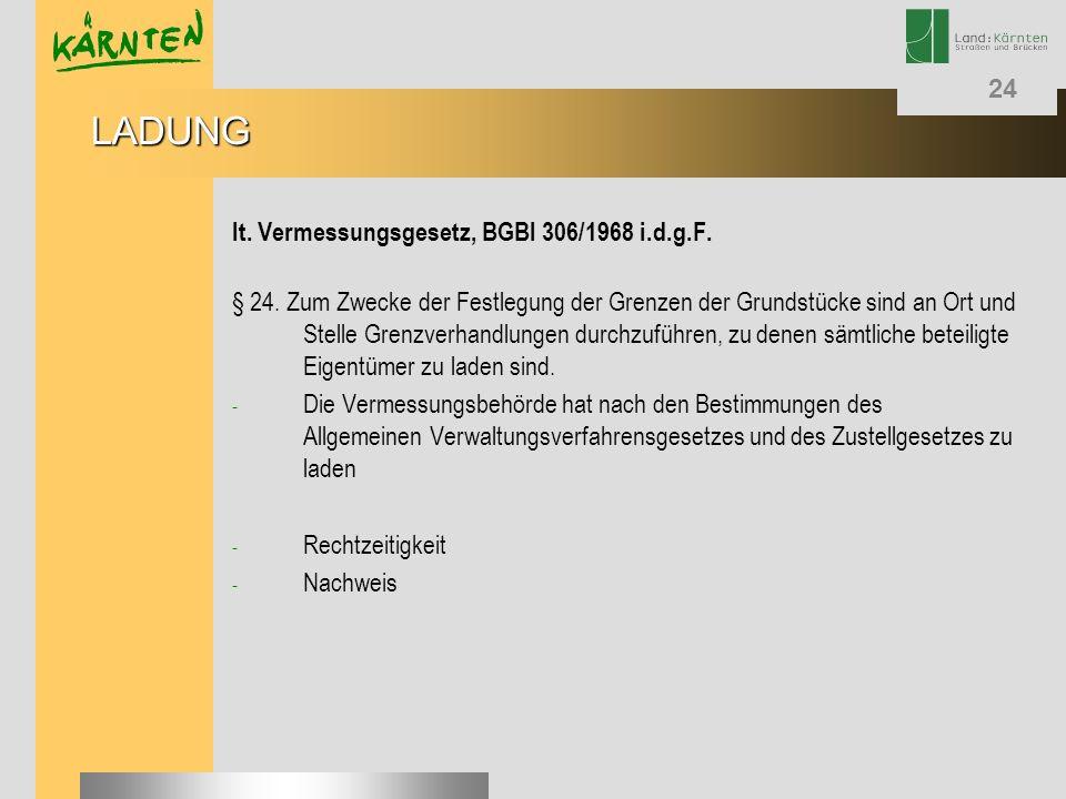LADUNG lt. Vermessungsgesetz, BGBl 306/1968 i.d.g.F.