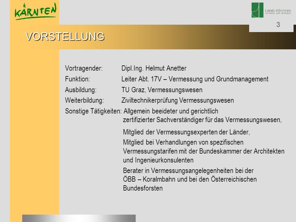 VORSTELLUNG Vortragender: Dipl.Ing. Helmut Anetter