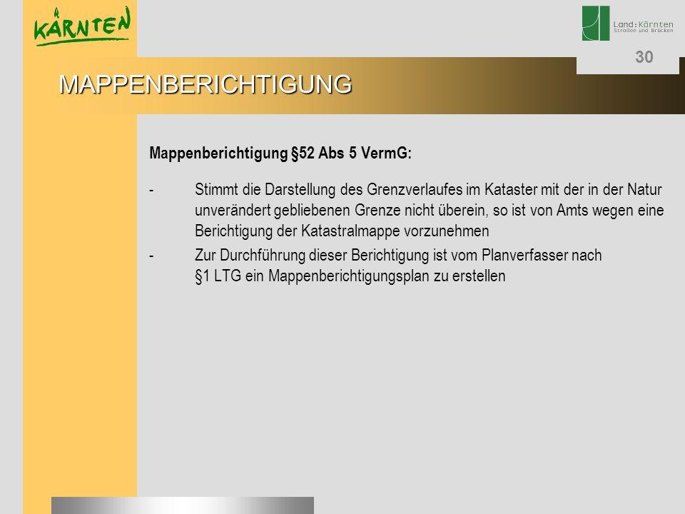 MAPPENBERICHTIGUNG Mappenberichtigung §52 Abs 5 VermG: