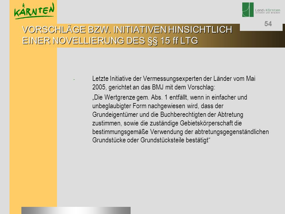 VORSCHLÄGE BZW. INITIATIVEN HINSICHTLICH EINER NOVELLIERUNG DES §§ 15 ff LTG