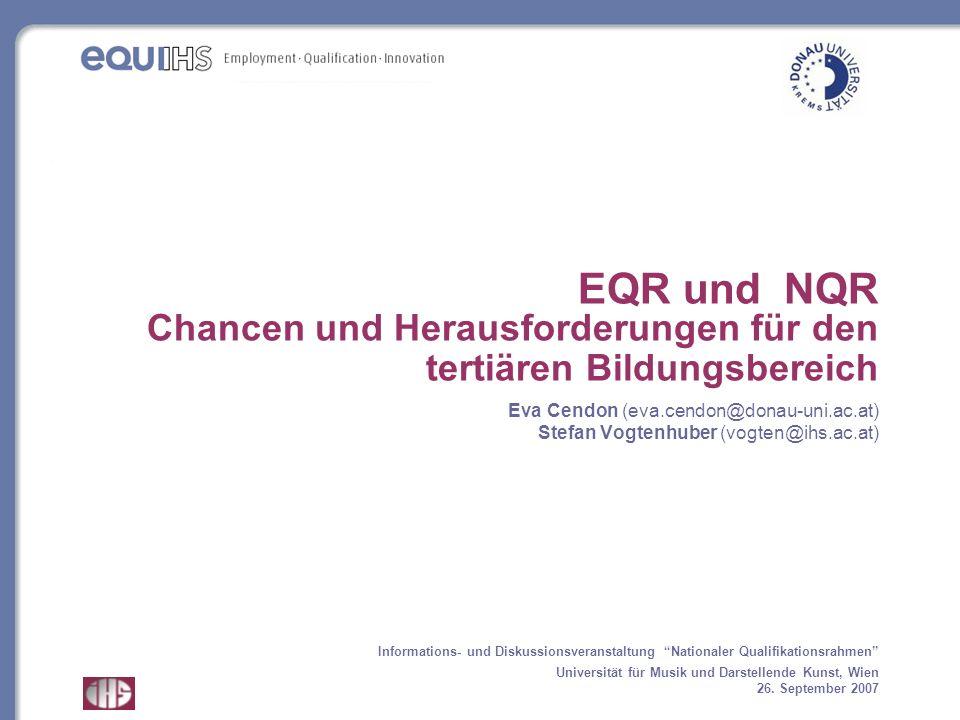 EQR und NQR Chancen und Herausforderungen für den tertiären Bildungsbereich Eva Cendon (eva.cendon@donau-uni.ac.at) Stefan Vogtenhuber (vogten@ihs.ac.at)