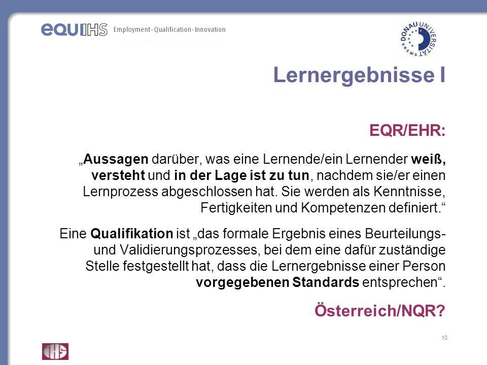 Lernergebnisse I EQR/EHR: Österreich/NQR