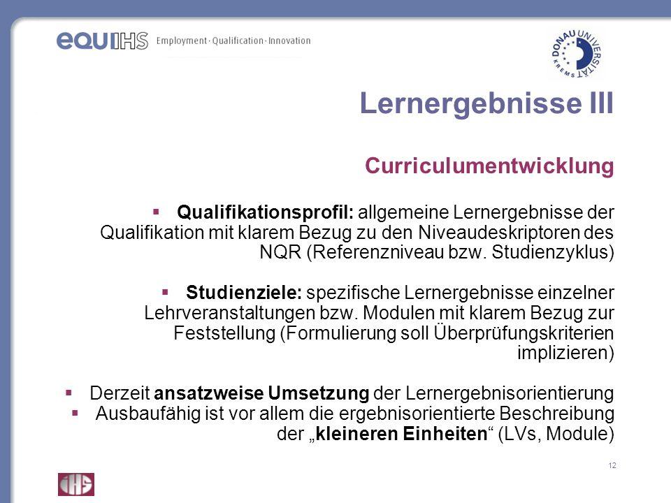 Lernergebnisse III Curriculumentwicklung