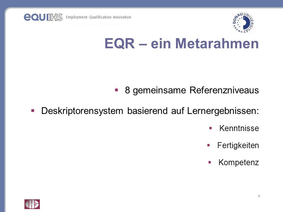 EQR – ein Metarahmen 8 gemeinsame Referenzniveaus