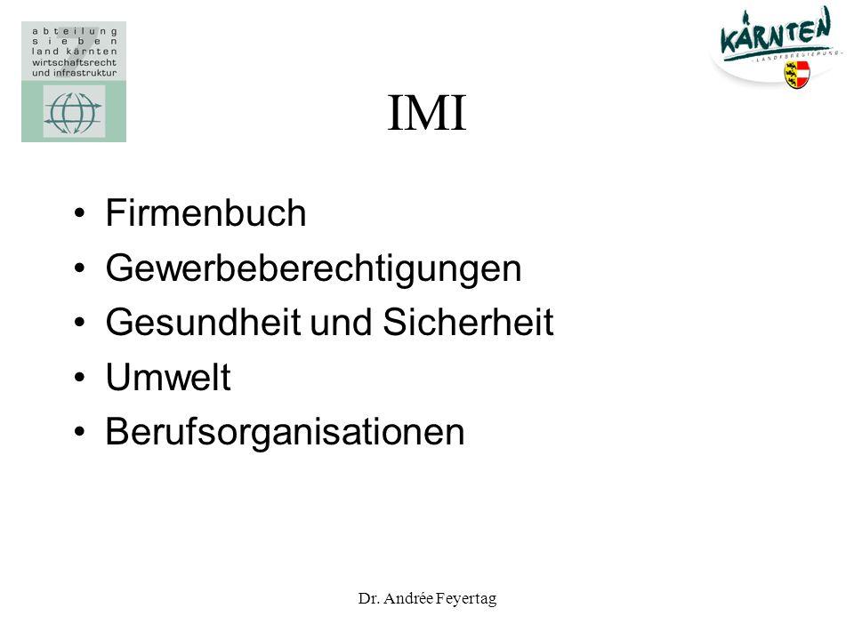 IMI Firmenbuch Gewerbeberechtigungen Gesundheit und Sicherheit Umwelt