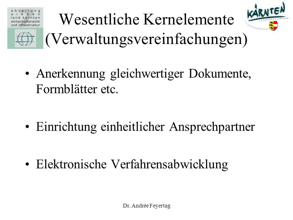 Wesentliche Kernelemente (Verwaltungsvereinfachungen)