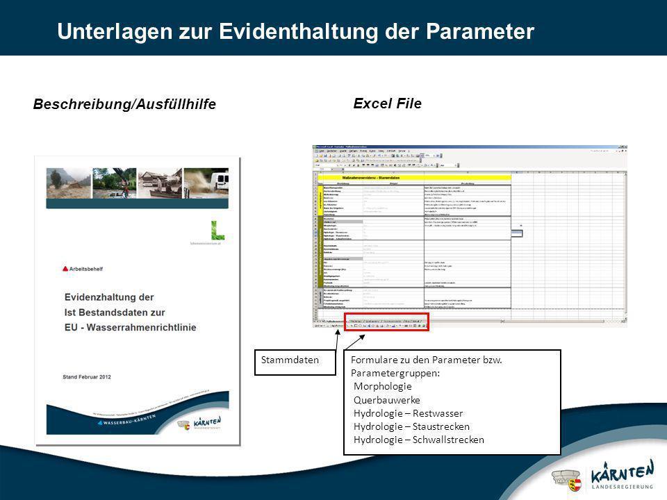 Unterlagen zur Evidenthaltung der Parameter