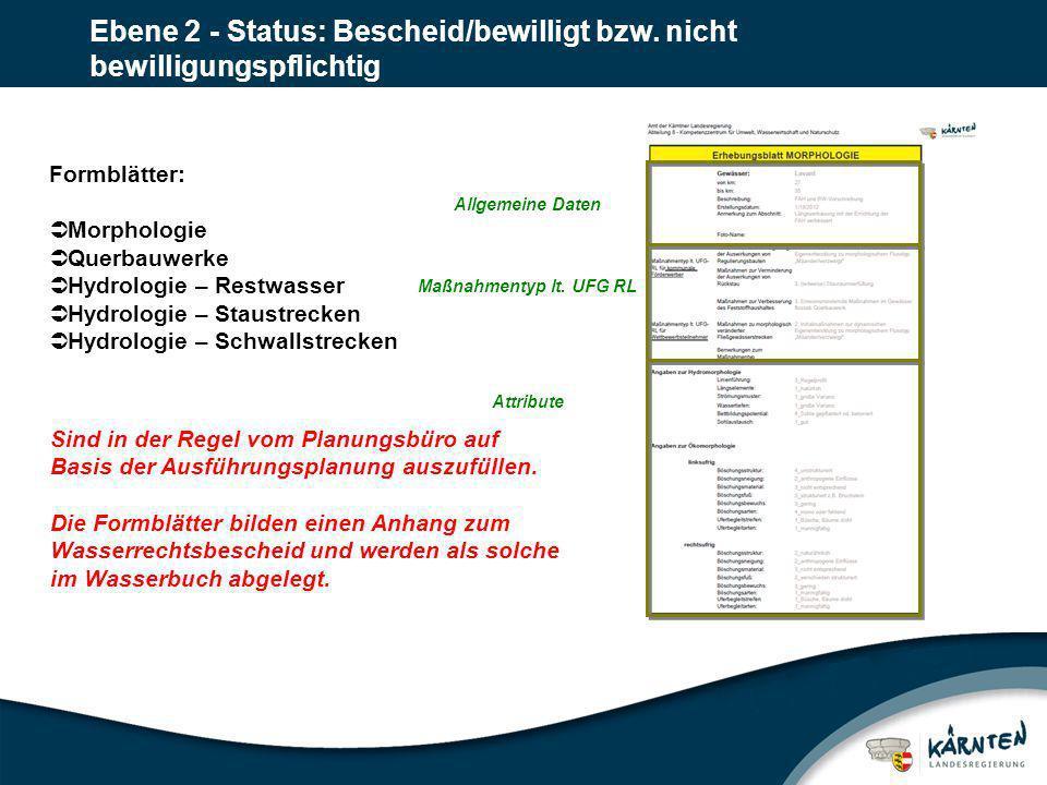 Ebene 2 - Status: Bescheid/bewilligt bzw. nicht bewilligungspflichtig