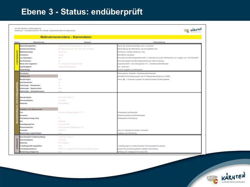 Ebene 3 - Status: endüberprüft