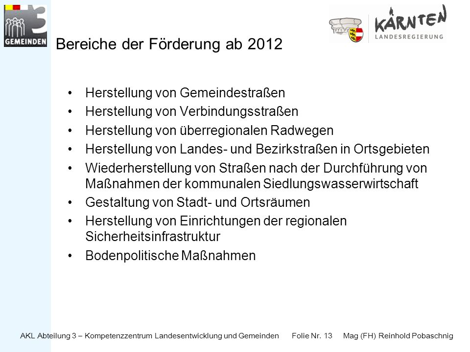 Bereiche der Förderung ab 2012