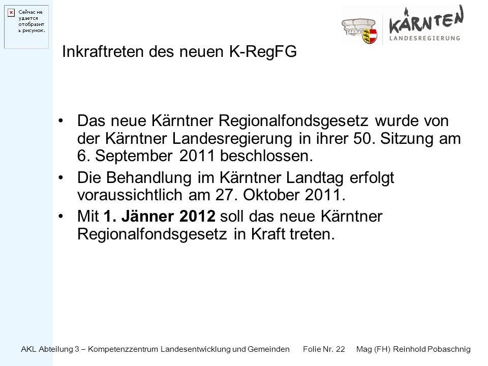 Inkraftreten des neuen K-RegFG