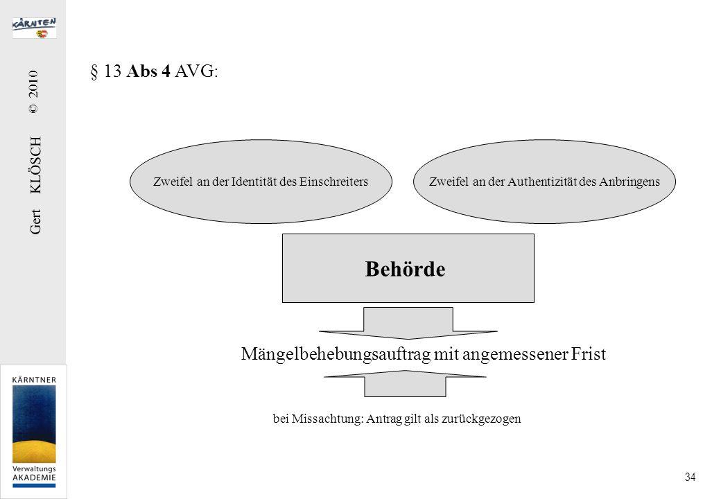 § 13 Abs 5 AVG: Entgegennahme von Anbringen