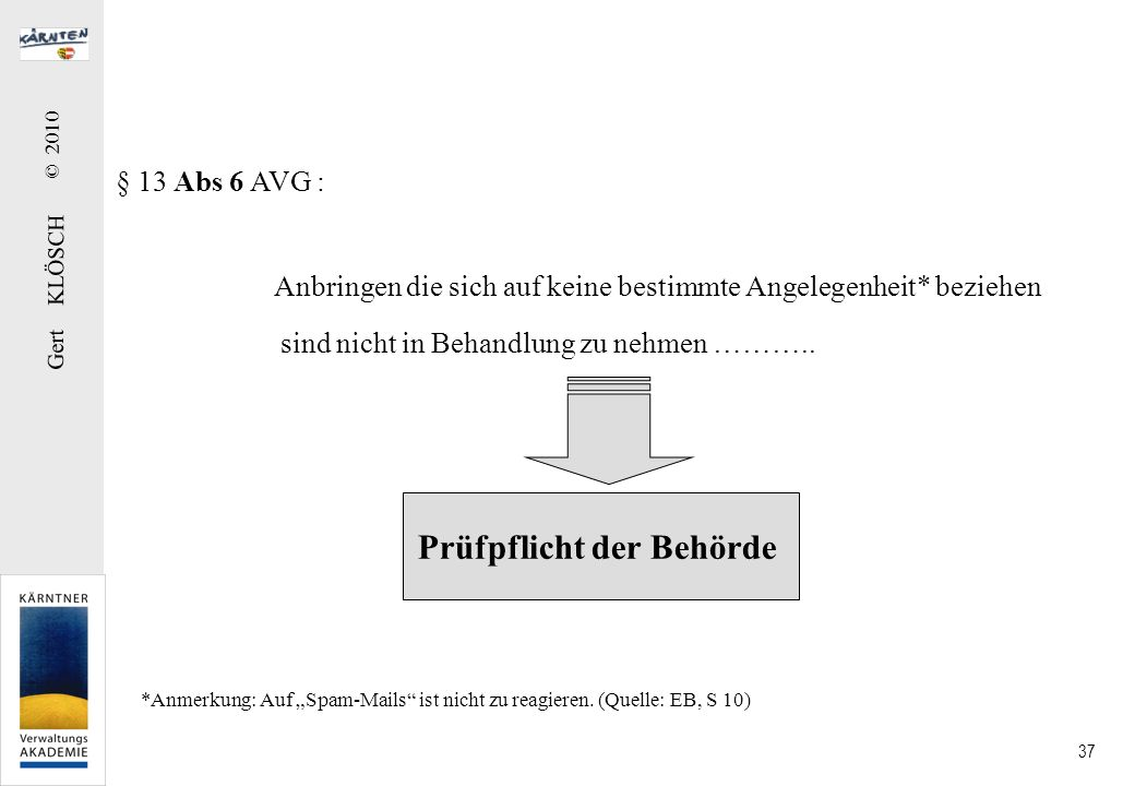 § 13 Abs 7 AVG: Zurückziehung von Anbringen