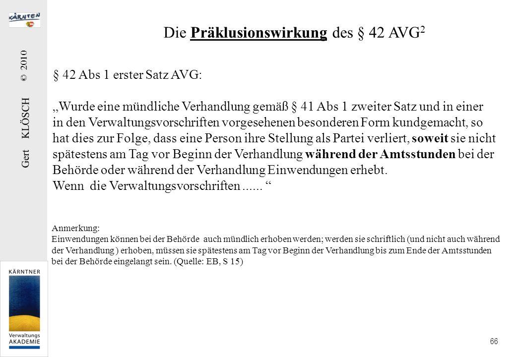 Die Präklusionswirkung des § 42 AVG3