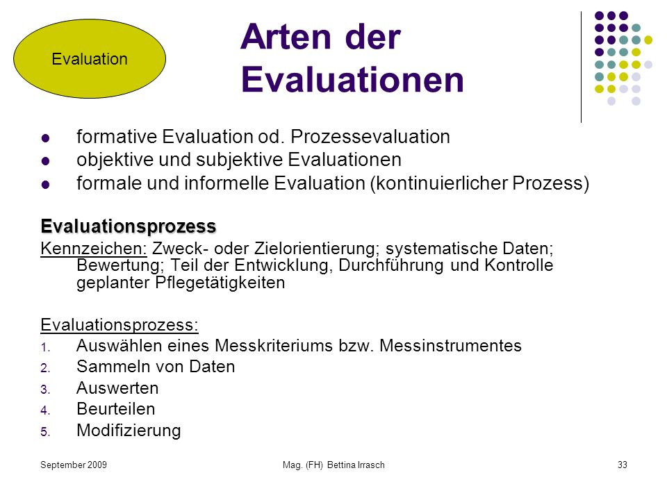 Arten der Evaluationen
