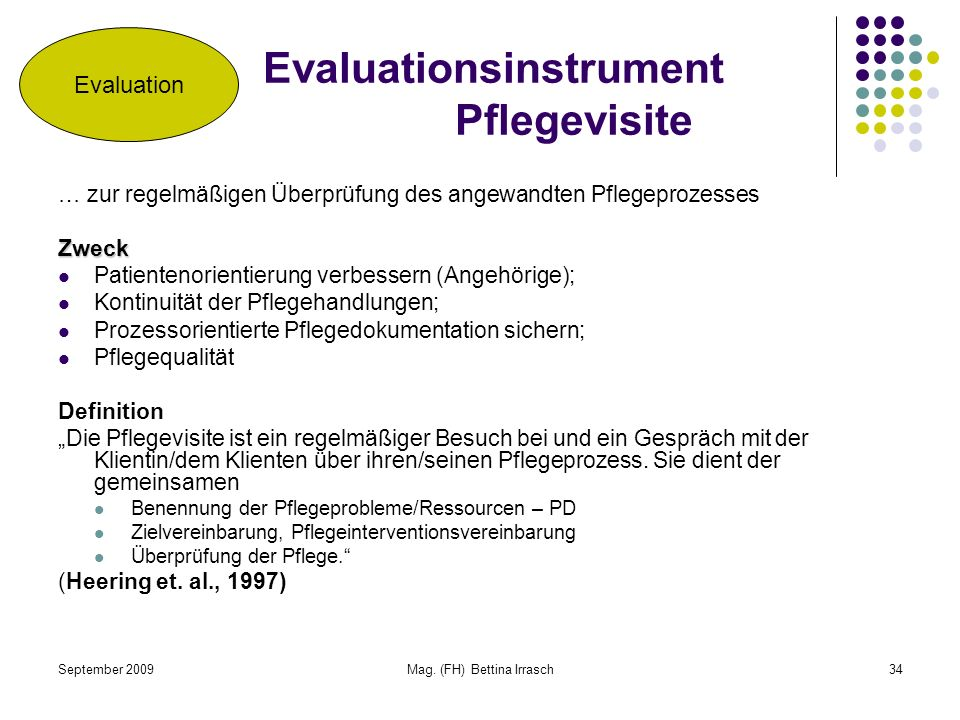 Evaluationsinstrument Pflegevisite